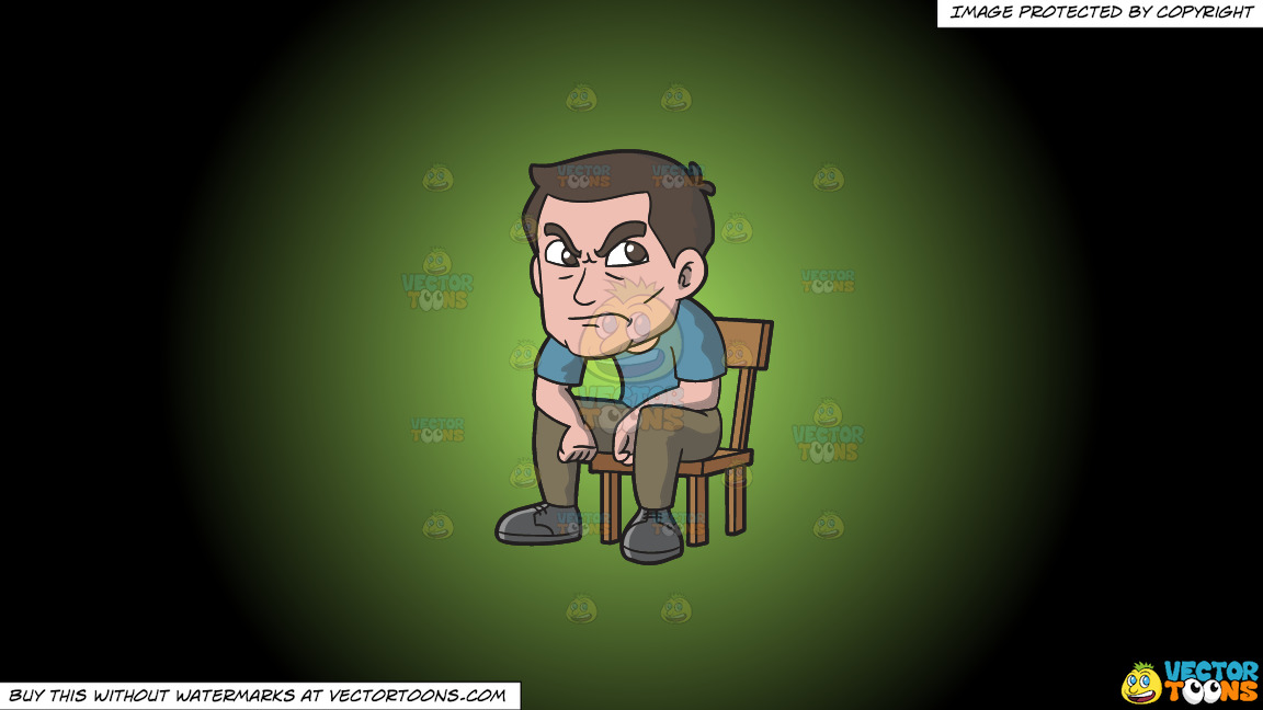 An Angry Man Sitting On A Chair On A Green And Black Gradient Background thumbnail