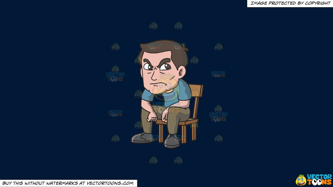 An Angry Man Sitting On A Chair On A Solid Dark Blue 011936 Background thumbnail