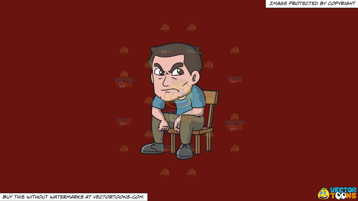 An Angry Man Sitting On A Chair On A Solid Maroon 69140e Background thumbnail
