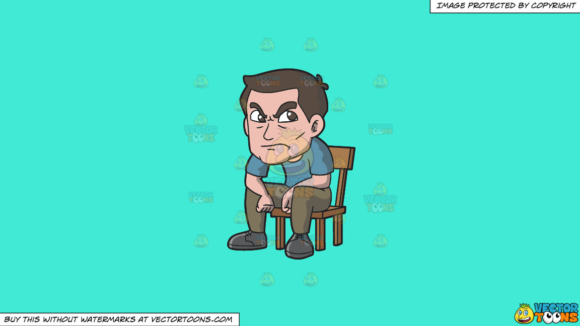 An Angry Man Sitting On A Chair On A Solid Turquiose 41ead4 Background thumbnail