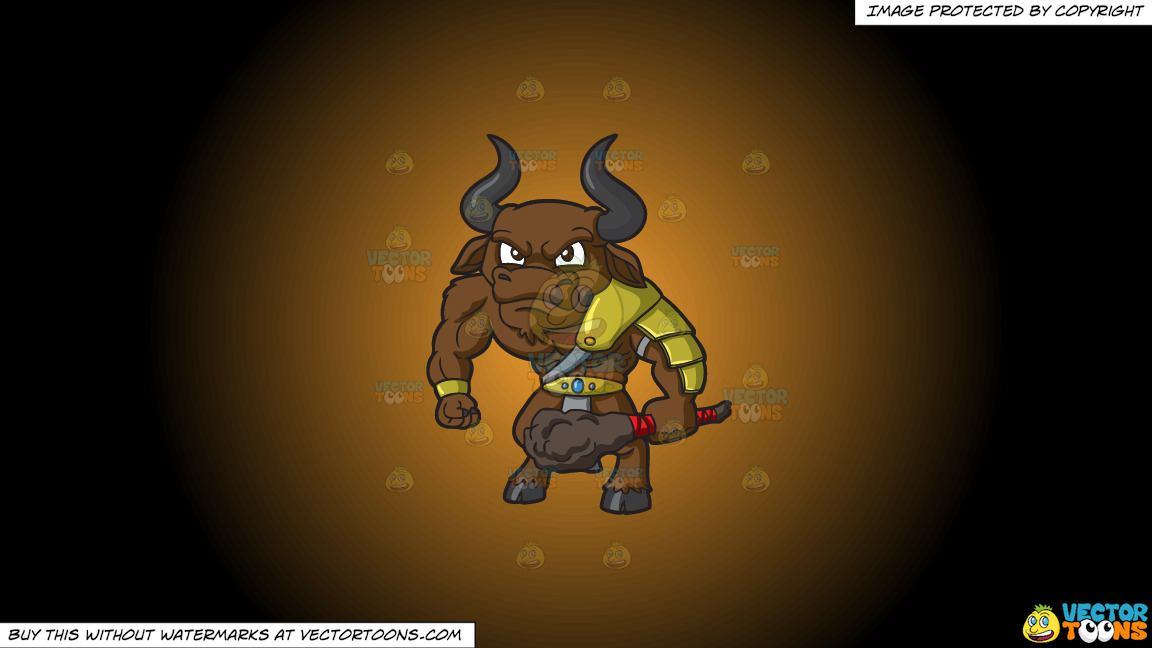 An Angry Minotaur On A Orange And Black Gradient Background thumbnail