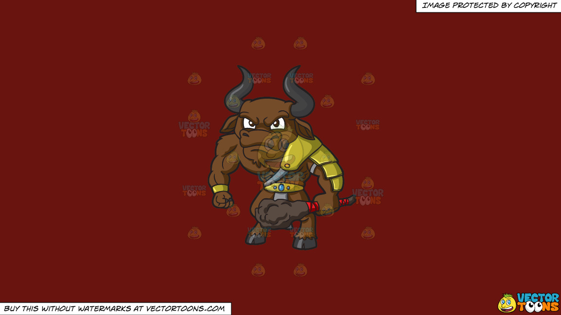 An Angry Minotaur On A Solid Maroon 69140e Background thumbnail