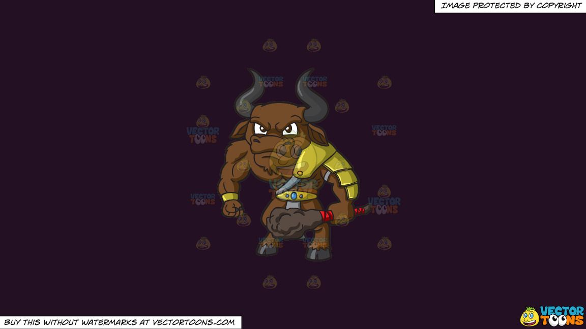 An Angry Minotaur On A Solid Purple Rasin 241023 Background thumbnail