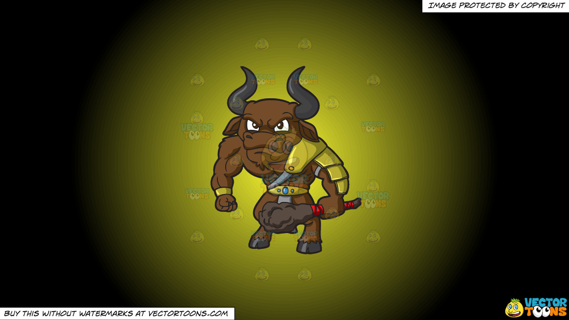 An Angry Minotaur On A Yellow And Black Gradient Background thumbnail