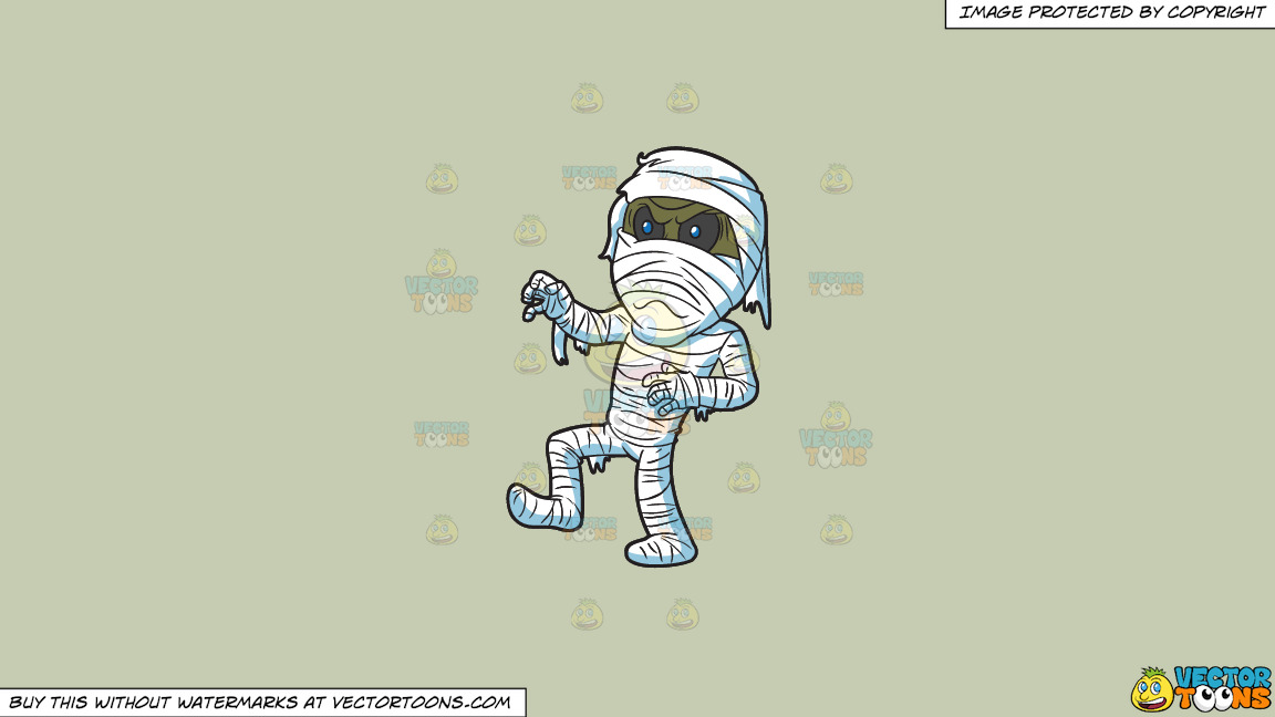 An Angry Mummy On A Solid Pale Silver C6ccb2 Background thumbnail