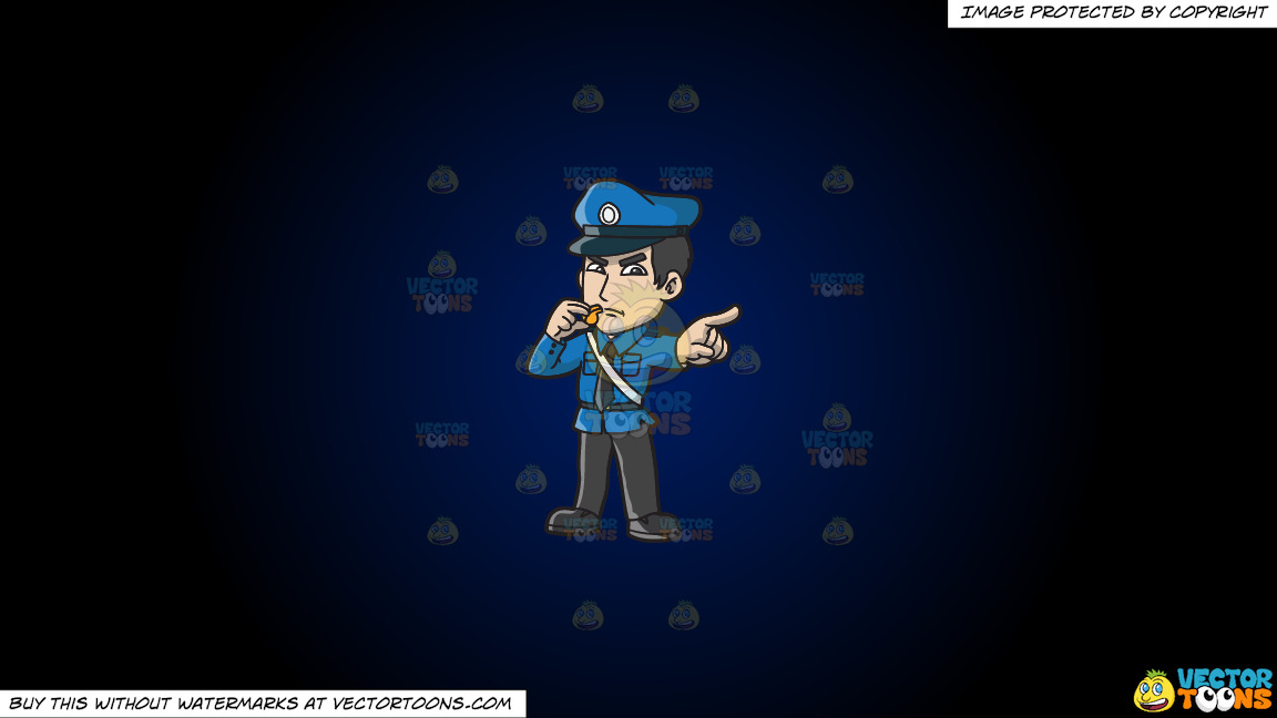 An Angry Police Officer With A Whistle On A Dark Blue And Black Gradient Background thumbnail