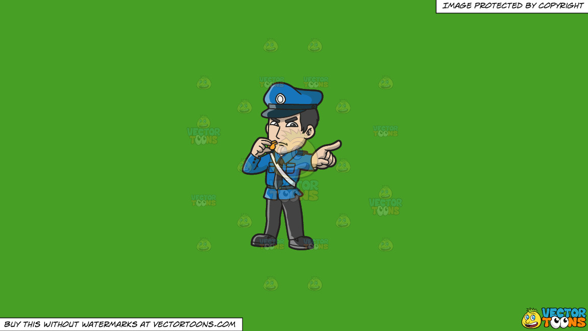 An Angry Police Officer With A Whistle On A Solid Kelly Green 47a025 Background thumbnail