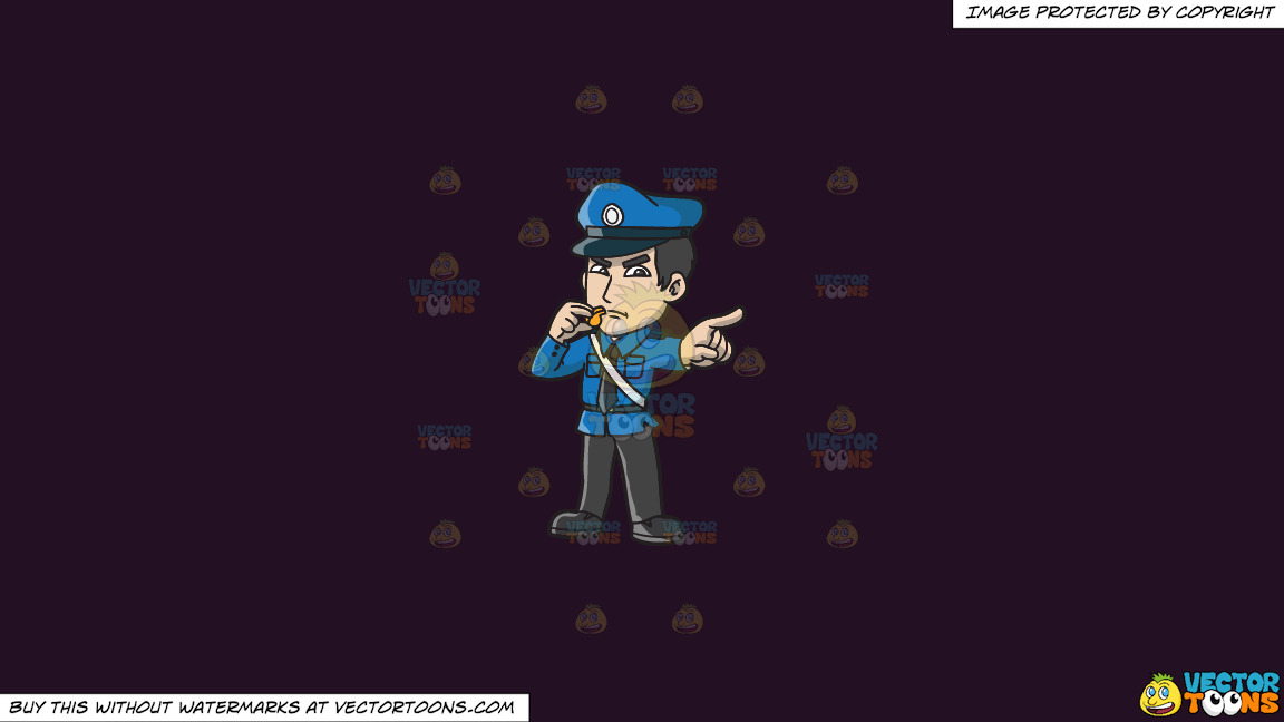 An Angry Police Officer With A Whistle On A Solid Purple Rasin 241023 Background thumbnail