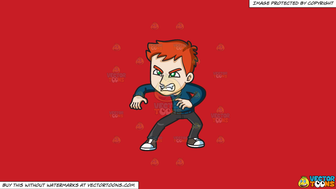 An Angry Teen Vampire On A Solid Fire Engine Red C81d25 Background thumbnail
