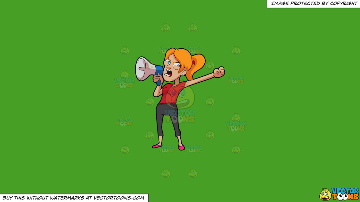 An Angry Woman Speaking On The Megaphone On A Solid Kelly Green 47a025 Background thumbnail