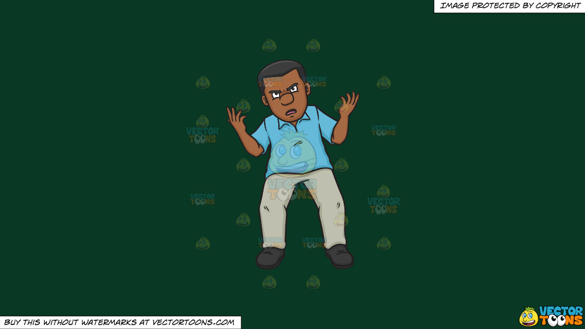 An Annoyed Black Man Arguing A Point On A Solid Dark Green 093824 Background thumbnail