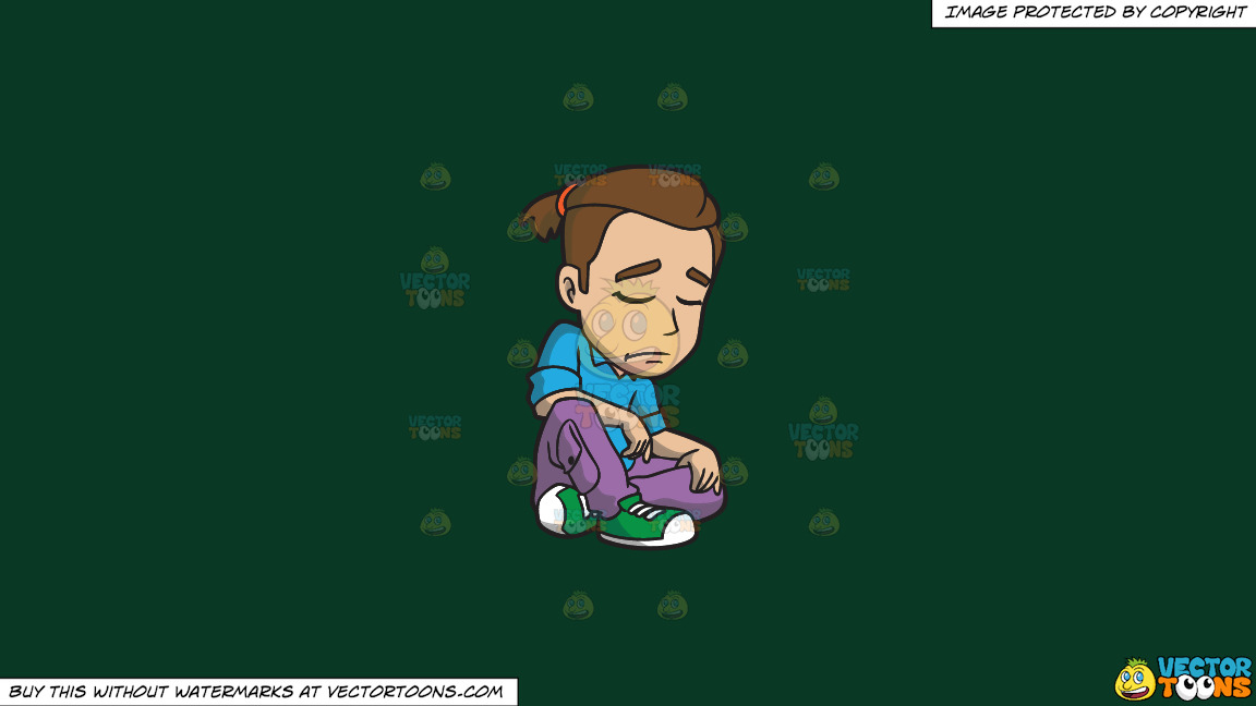 An Artsy Man Looking Sad And Depressed On A Solid Dark Green 093824 Background thumbnail