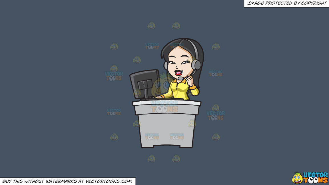 An Asian Female Call Center Agent On A Solid Metal Grey 465362 Background thumbnail