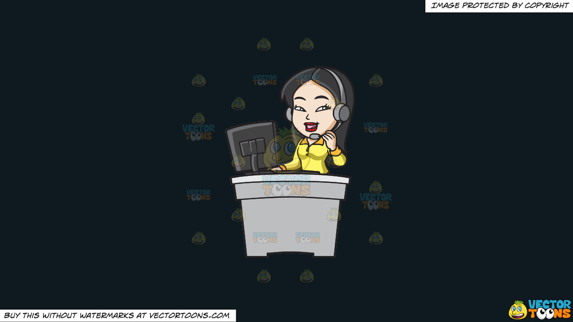 An Asian Female Call Center Agent On A Solid Off Black 0f1a20 Background thumbnail