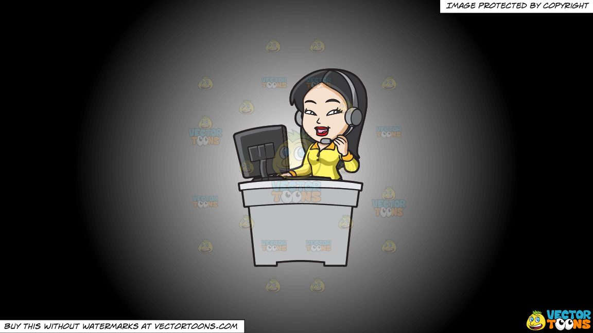 An Asian Female Call Center Agent On A White And Black Gradient Background thumbnail
