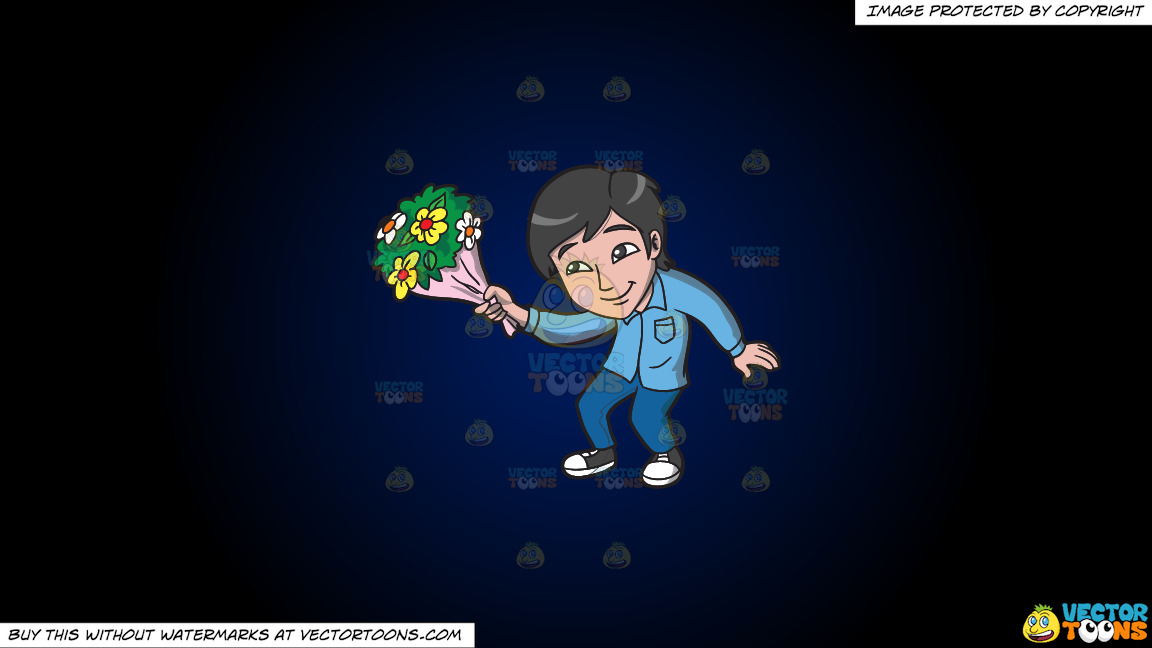 An Asian Guy Offering Flowers On A Dark Blue And Black Gradient Background thumbnail