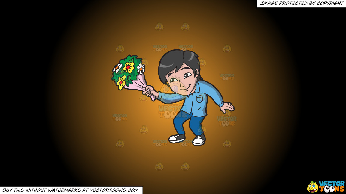 An Asian Guy Offering Flowers On A Orange And Black Gradient Background thumbnail