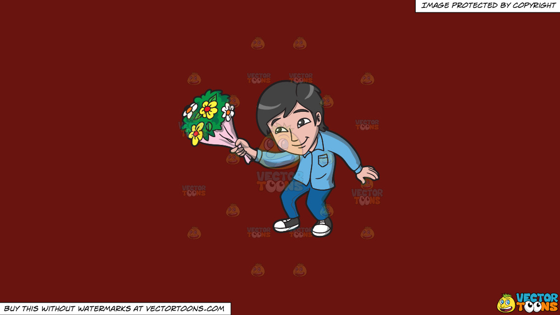 An Asian Guy Offering Flowers On A Solid Maroon 69140e Background thumbnail