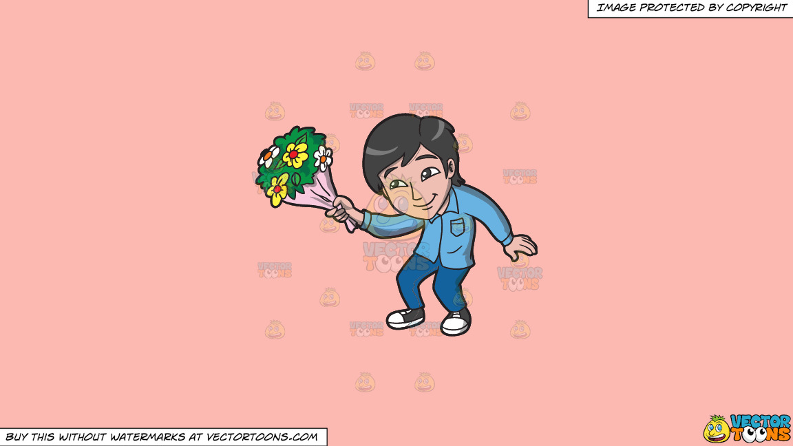 An Asian Guy Offering Flowers On A Solid Melon Fcb9b2 Background thumbnail