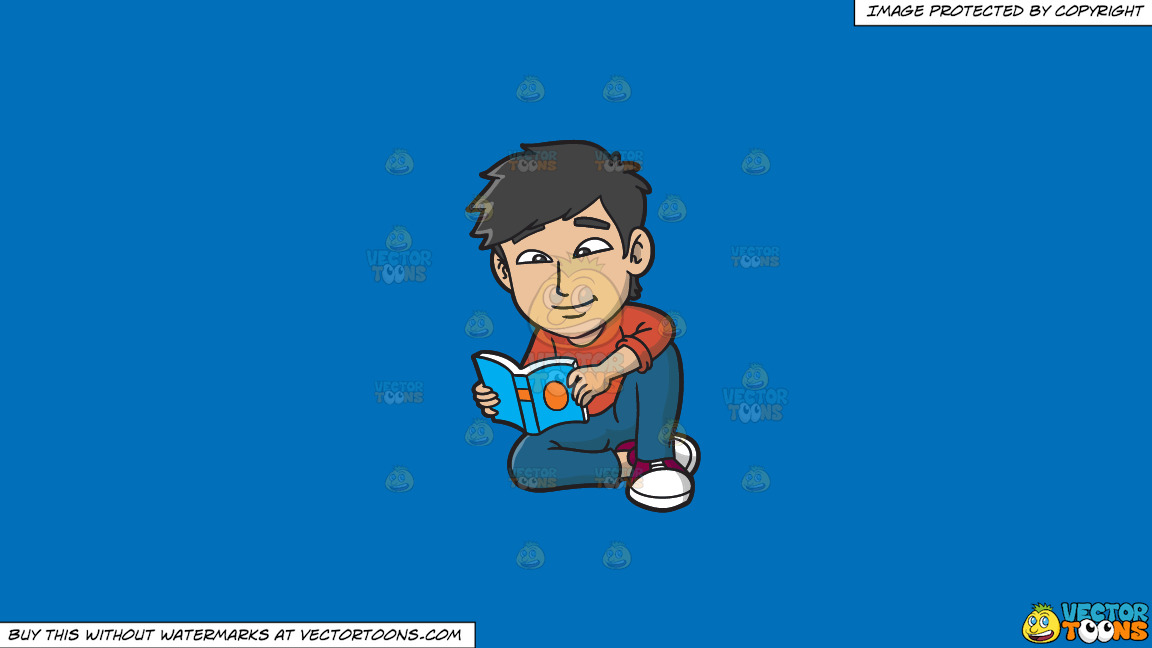 An Asian Guy Reading A Book On A Solid Spanish Blue 016fb9 Background thumbnail