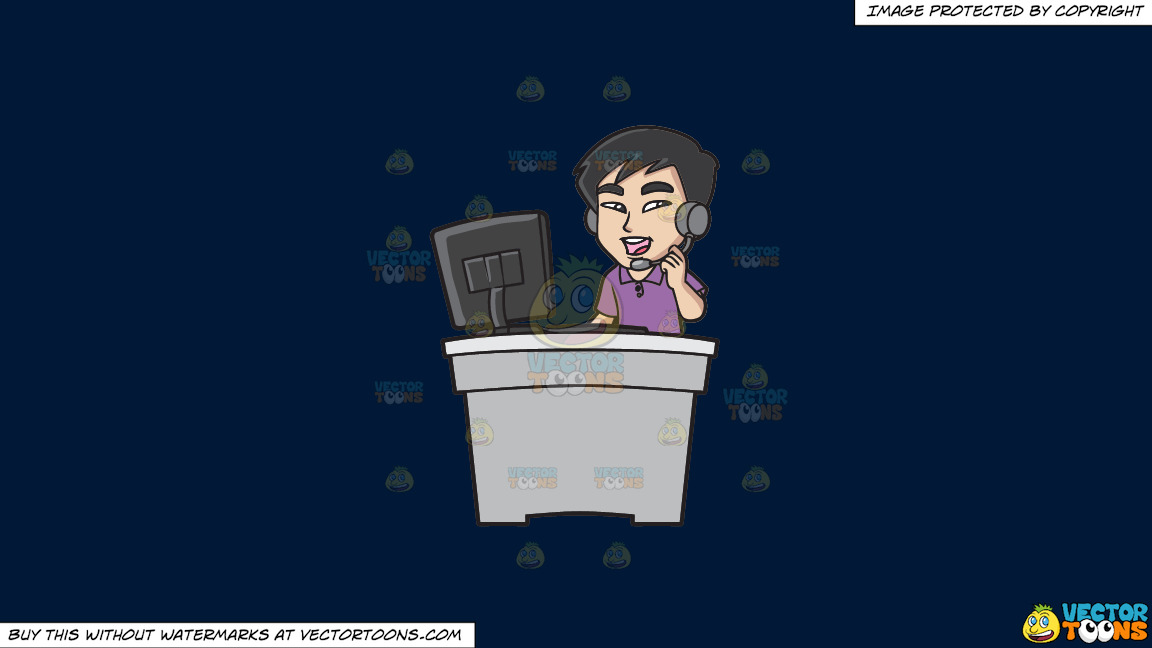 An Asian Guy Working As A Call Center Agent On A Solid Dark Blue 011936 Background thumbnail