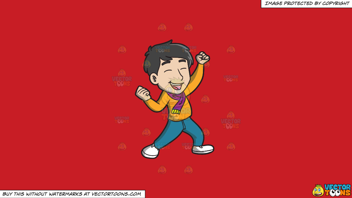 An Asian Man Celebrating In Delight On A Solid Fire Engine Red C81d25 Background thumbnail