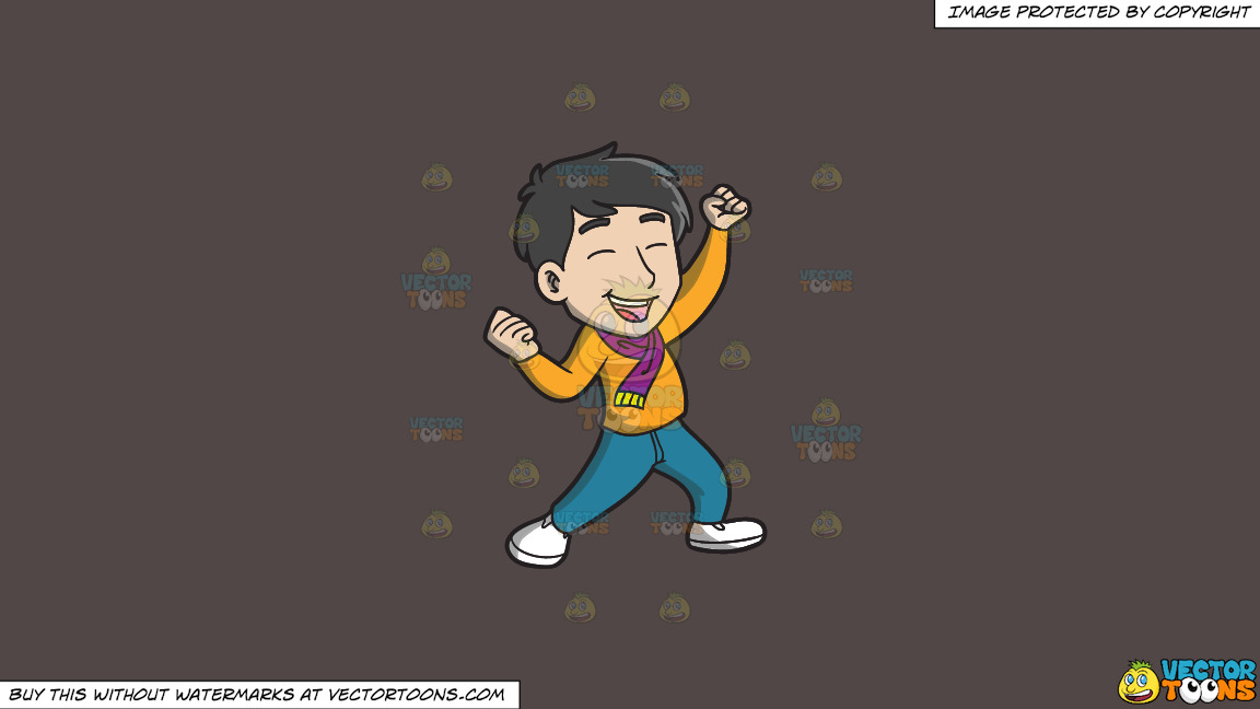 An Asian Man Celebrating In Delight On A Solid Quartz 504746 Background thumbnail
