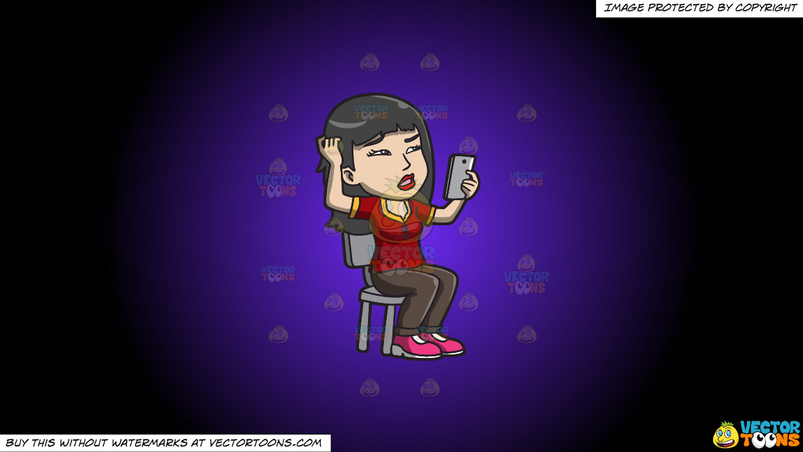 An Asian Woman Makes A Confusing Video Call On A Purple And Black Gradient Background thumbnail