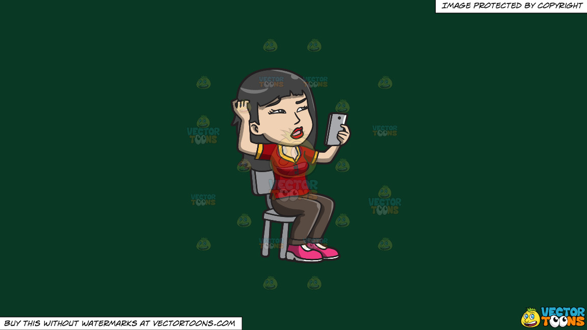 An Asian Woman Makes A Confusing Video Call On A Solid Dark Green 093824 Background thumbnail