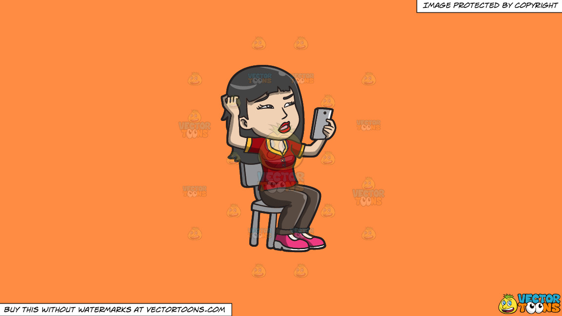 An Asian Woman Makes A Confusing Video Call On A Solid Mango Orange Ff8c42 Background thumbnail