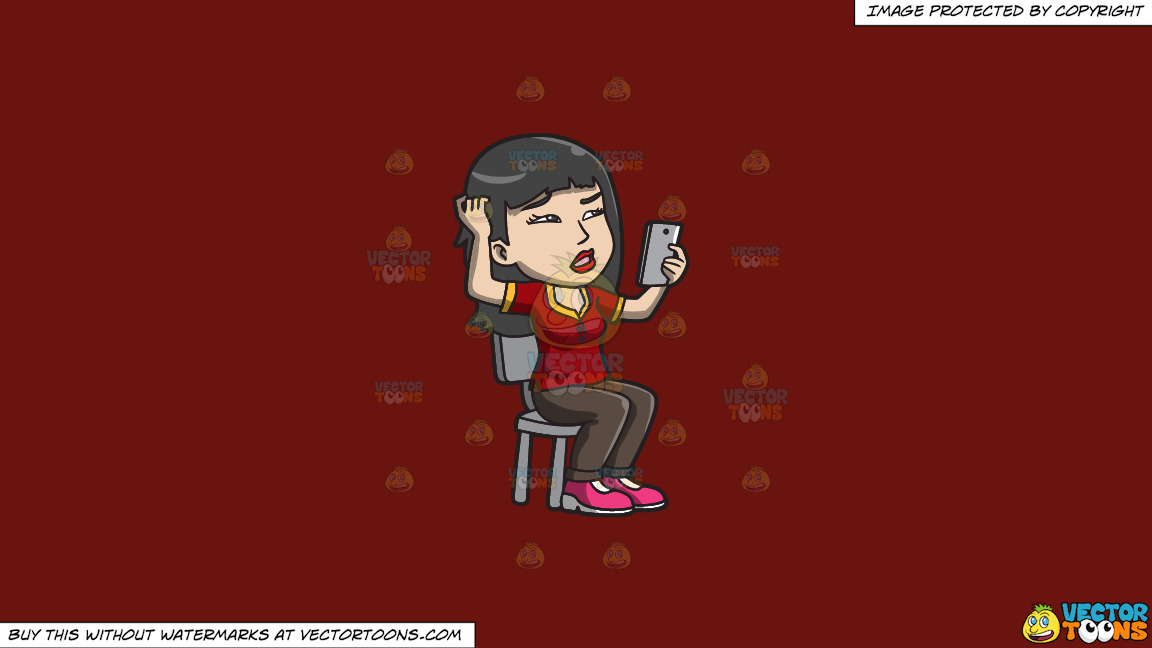 An Asian Woman Makes A Confusing Video Call On A Solid Maroon 69140e Background thumbnail
