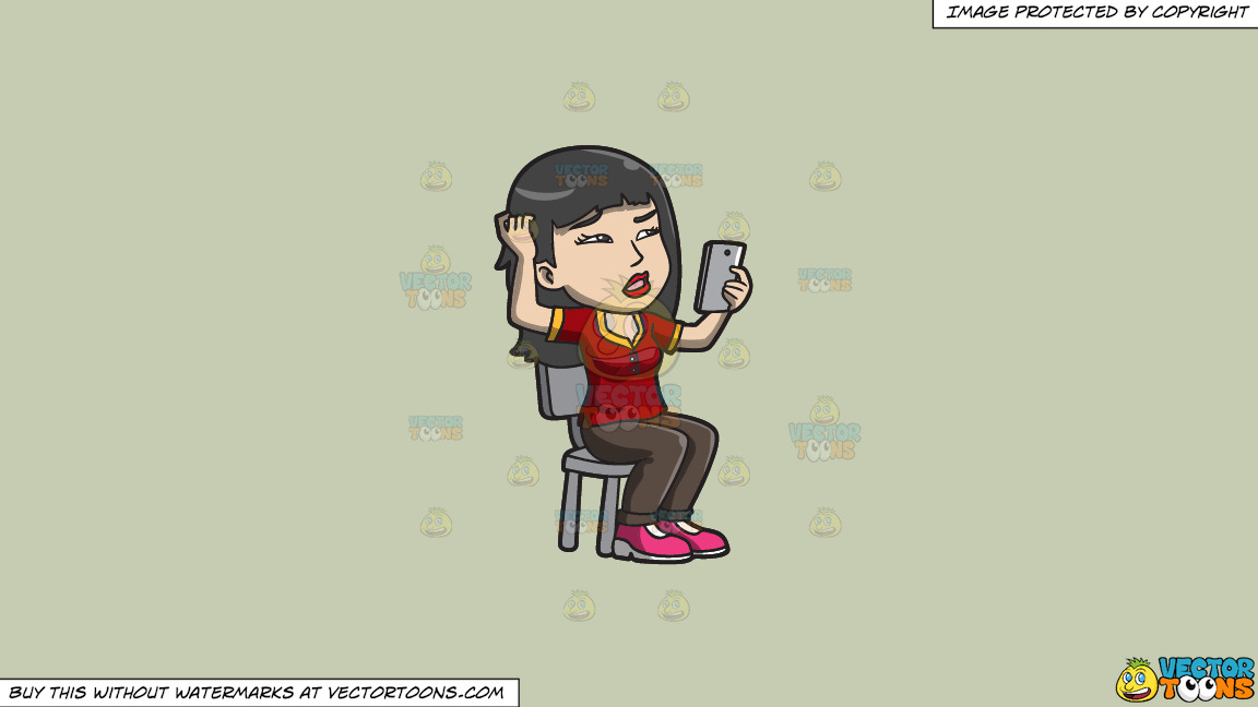 An Asian Woman Makes A Confusing Video Call On A Solid Pale Silver C6ccb2 Background thumbnail