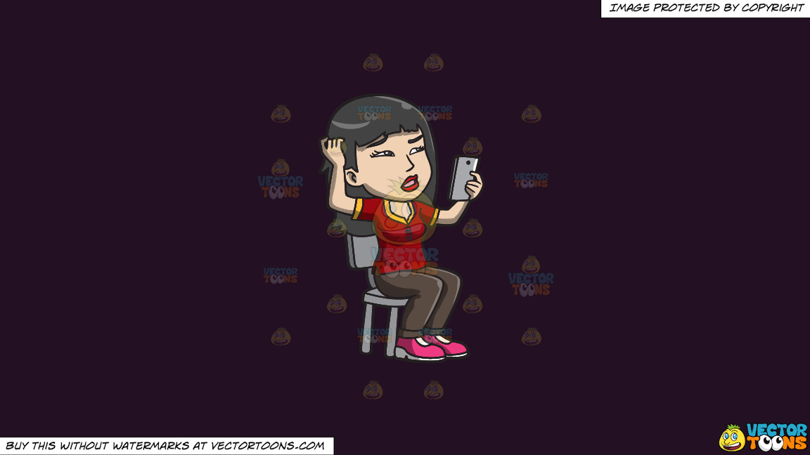 An Asian Woman Makes A Confusing Video Call On A Solid Purple Rasin 241023 Background thumbnail