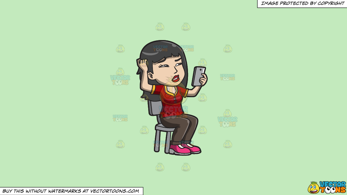 An Asian Woman Makes A Confusing Video Call On A Solid Tea Green C2eabd Background thumbnail