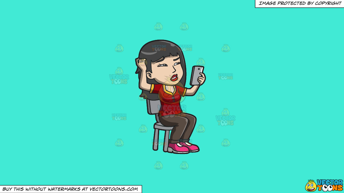 An Asian Woman Makes A Confusing Video Call On A Solid Turquiose 41ead4 Background thumbnail