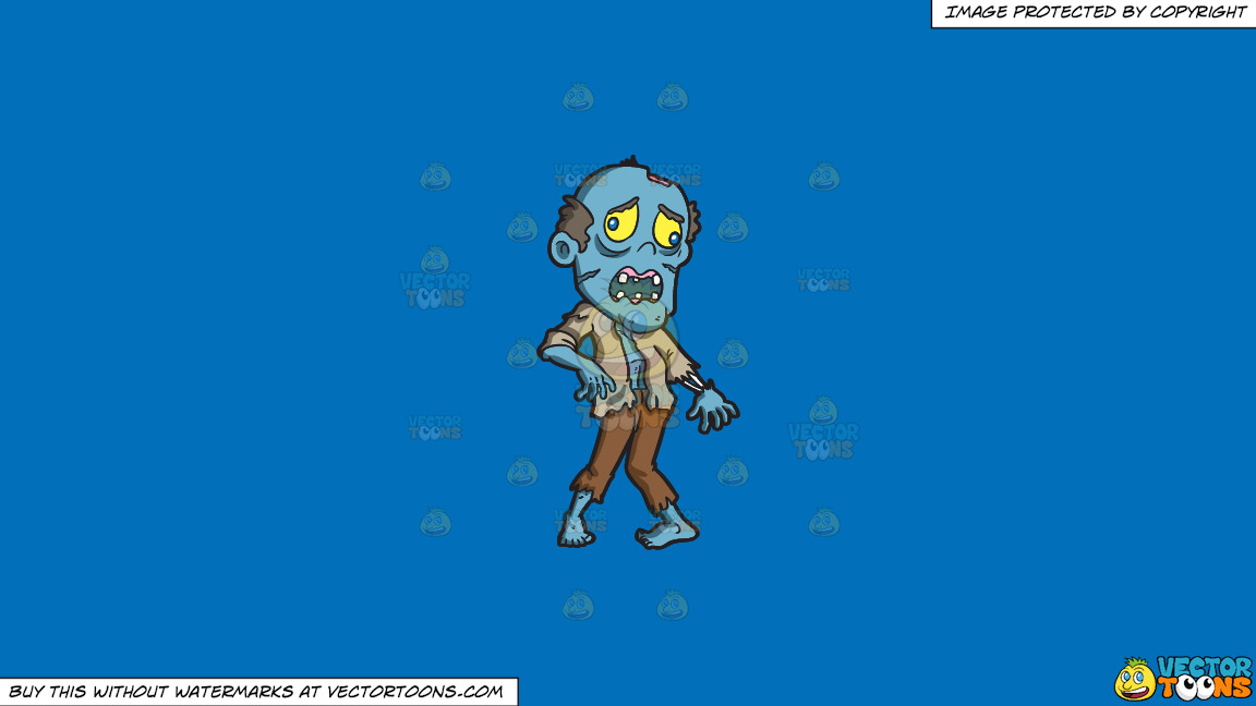 An Awkward Looking Zombie On A Solid Spanish Blue 016fb9 Background thumbnail