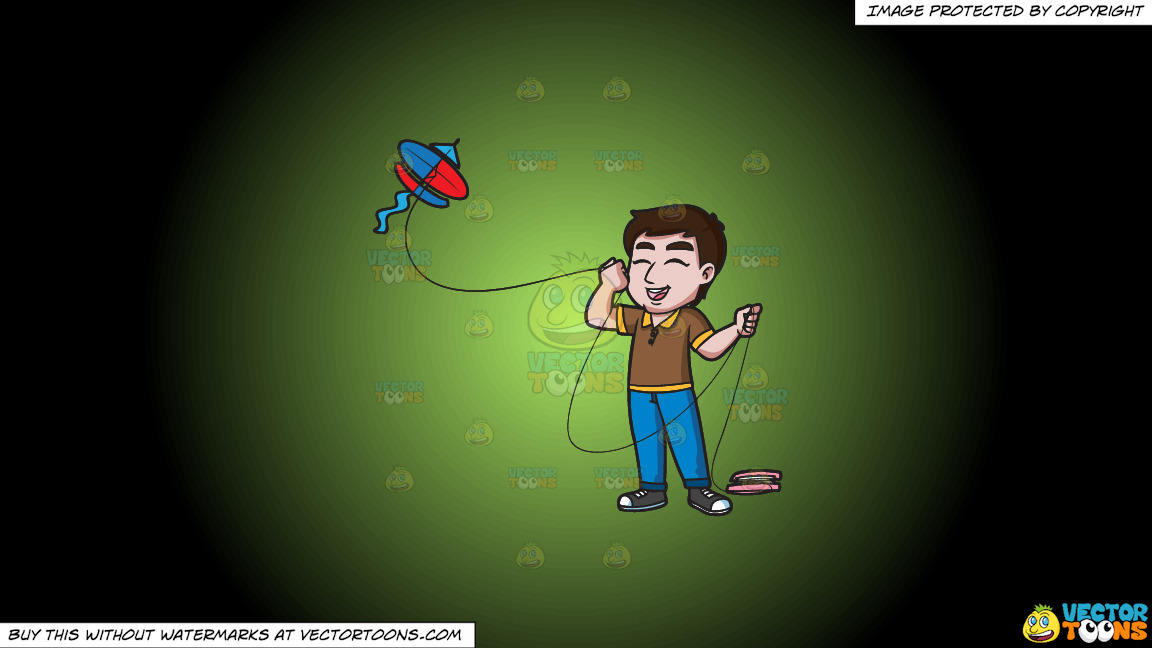 An Ecstatic Man Flying A Kite On A Green And Black Gradient Background thumbnail