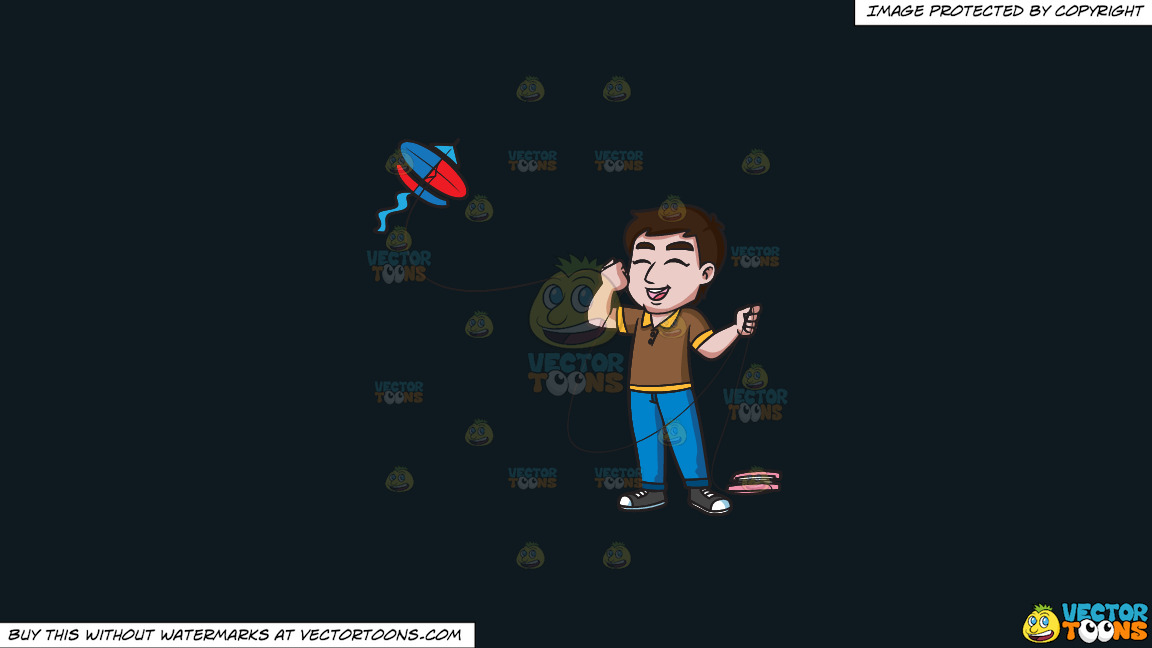 An Ecstatic Man Flying A Kite On A Solid Off Black 0f1a20 Background thumbnail