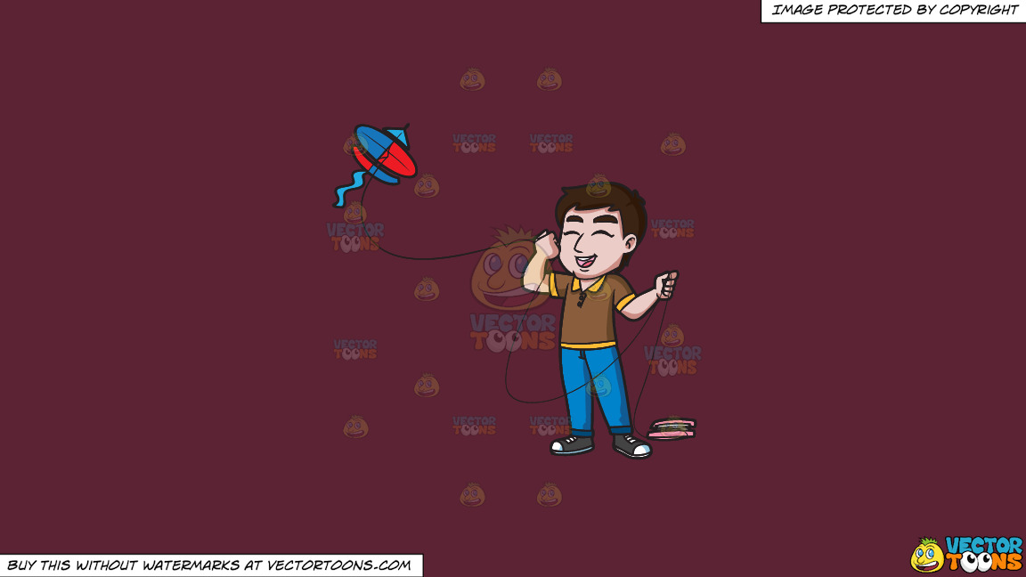 An Ecstatic Man Flying A Kite On A Solid Red Wine 5b2333 Background thumbnail