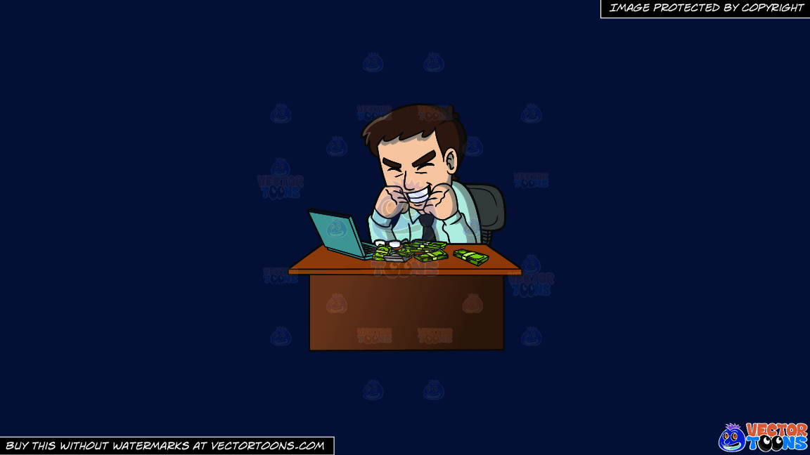 An Ecstatic Man Making Money Online On A Solid Dark Blue 011936 Background thumbnail