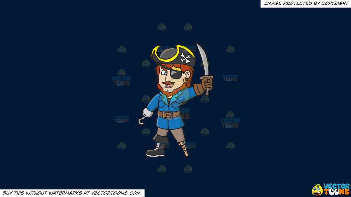 An Ecstatic Pirate With A Hook Hand And A Wooden Leg On A Solid Dark Blue 011936 Background thumbnail