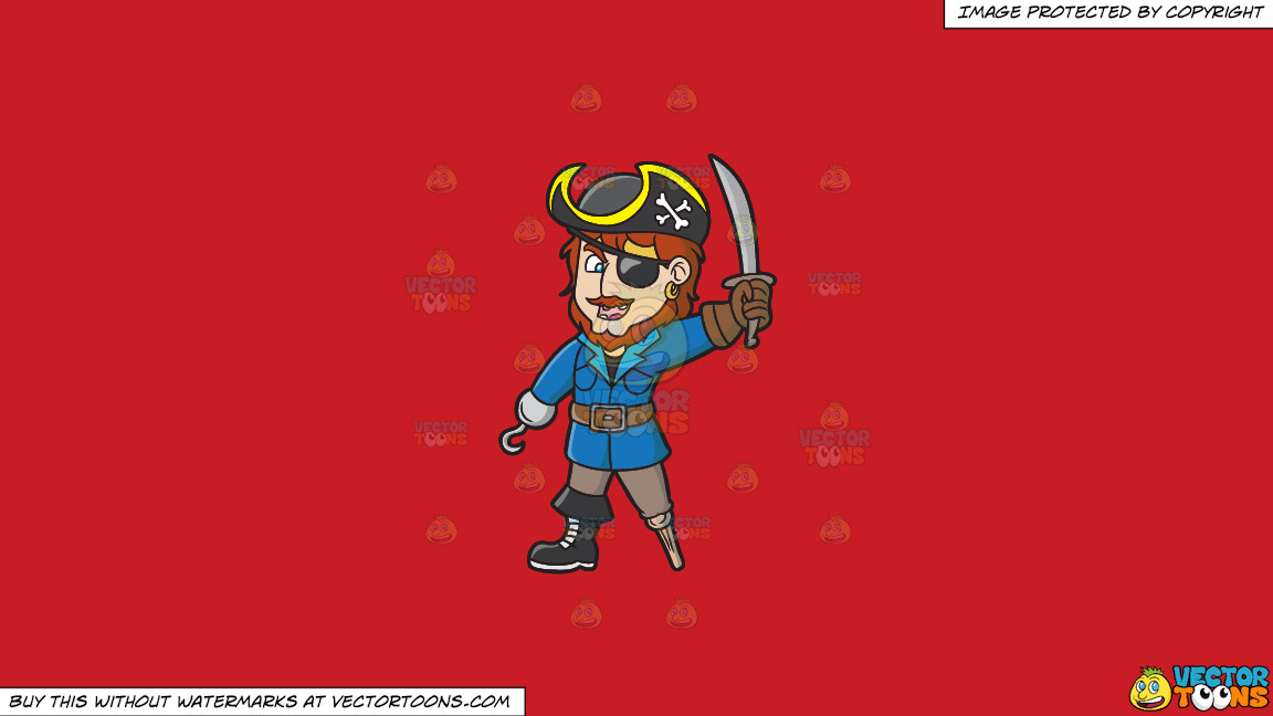 An Ecstatic Pirate With A Hook Hand And A Wooden Leg On A Solid Fire Engine Red C81d25 Background thumbnail