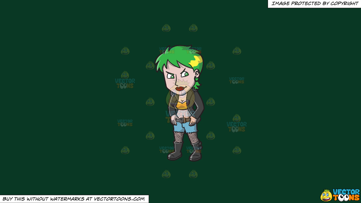 An Edgy Female Punk On A Solid Dark Green 093824 Background thumbnail