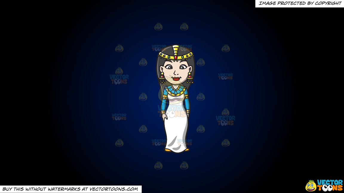 An Egyptian Princess On A Dark Blue And Black Gradient Background thumbnail