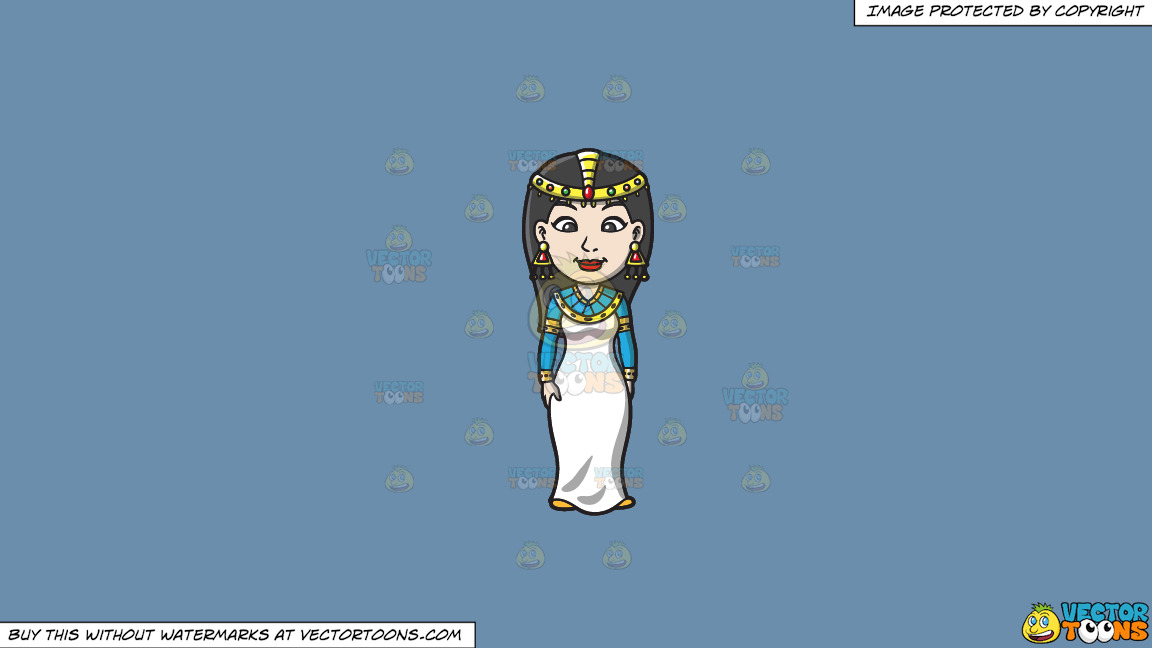 An Egyptian Princess On A Solid Shadow Blue 6c8ead Background thumbnail