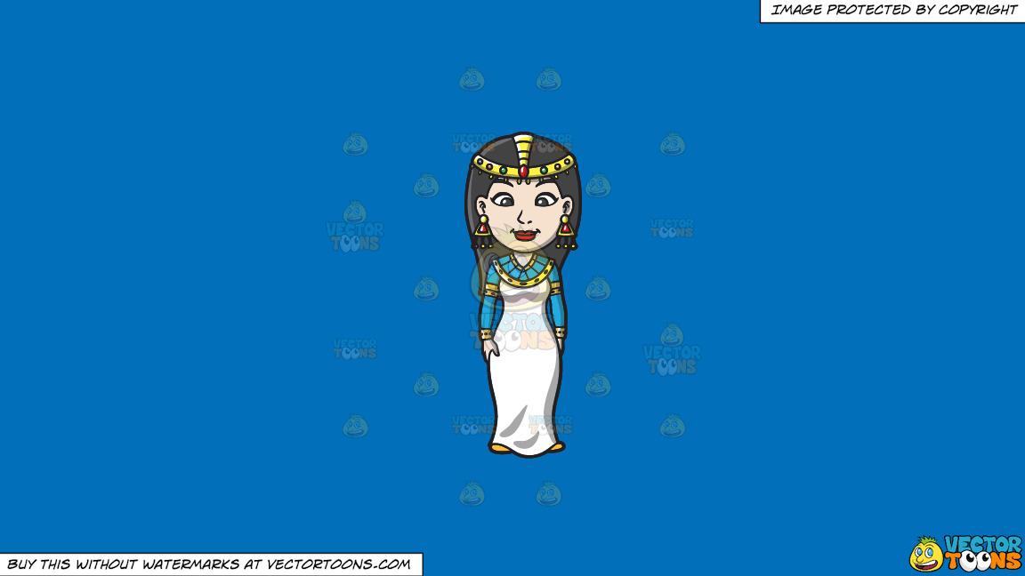 An Egyptian Princess On A Solid Spanish Blue 016fb9 Background thumbnail