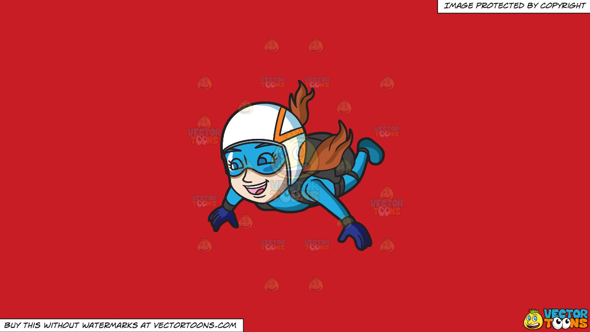 An Elated Woman Skydives For Fun On A Solid Fire Engine Red C81d25 Background thumbnail