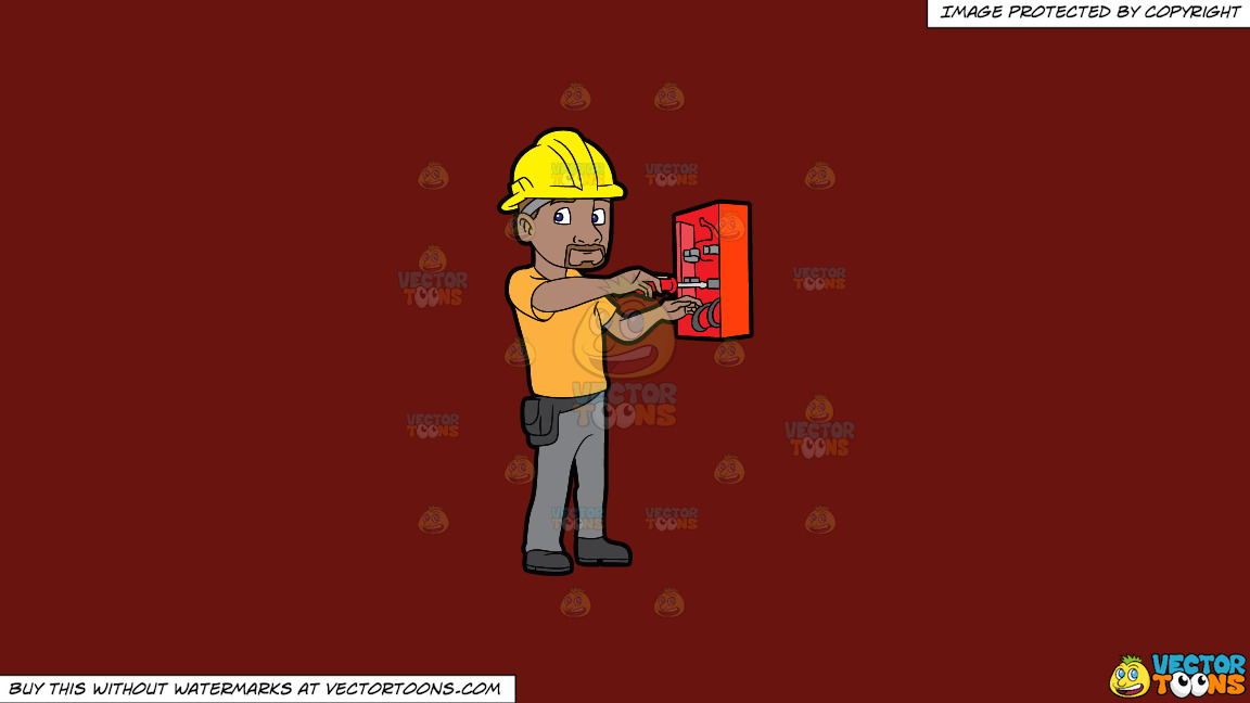 An Electrician Fixing An Defective Switch Box On A Solid Maroon 69140e Background thumbnail
