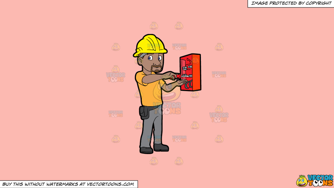 An Electrician Fixing An Defective Switch Box On A Solid Melon Fcb9b2 Background thumbnail