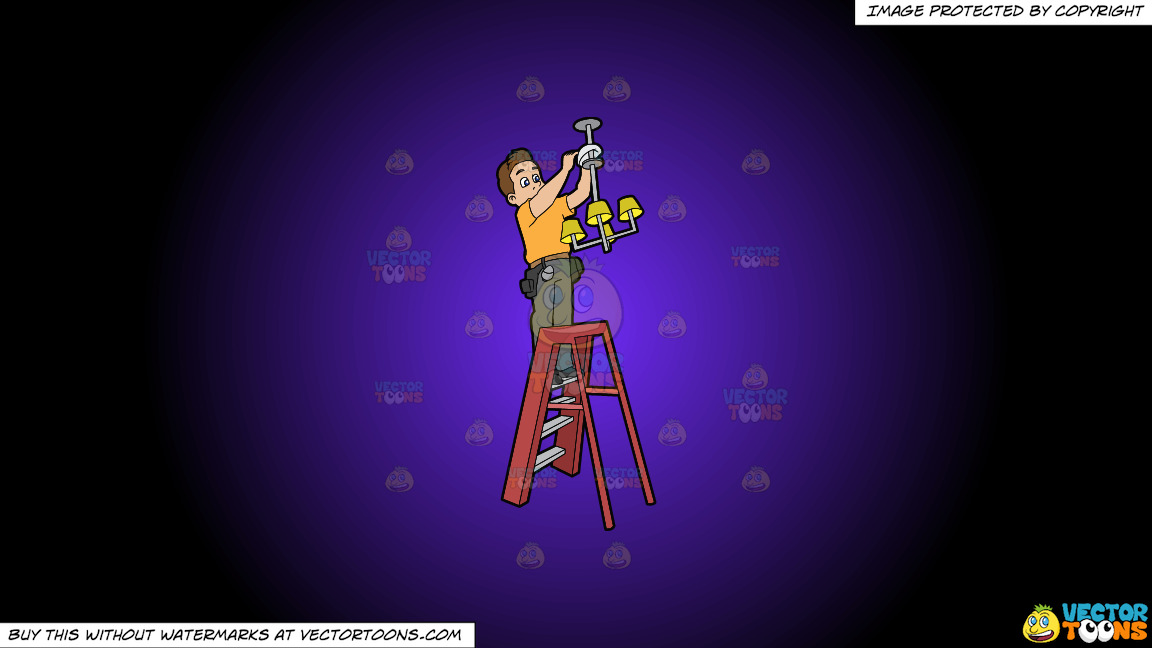 An Electrician Installing A Ceiling Light Fixture On A Purple And Black Gradient Background thumbnail